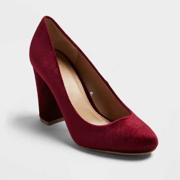 5aed7443db6f Burgundy Velvet Red Block Heel Pumps